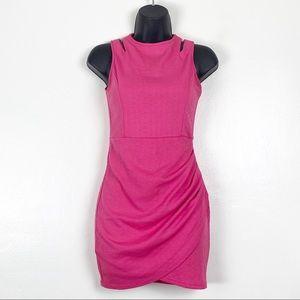 Pure Hype Pink Ruched Sleeveless Mini Dress Sz S